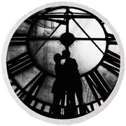 Timeless Love - Black And White Round Beach Towel