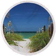 Round Beach Towel featuring the photograph Timeless Scandal by Michiale Schneider