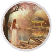 Round Beach Towel featuring the painting Timeless by Steve Henderson
