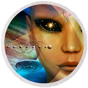 Round Beach Towel featuring the digital art Timeless Traveller by Shadowlea Is