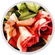 Timeless Tropicana Roses Round Beach Towel