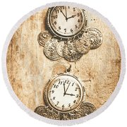 Timepieces From Bygone Fashion Round Beach Towel