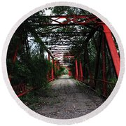 Round Beach Towel featuring the photograph Time's Forgotten Walking Bridge by Natalie Ortiz