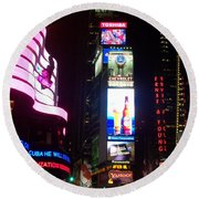 Times Square 1 Round Beach Towel