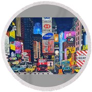 Times Square Round Beach Towel by Autumn Leaves Art