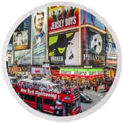 Times Square II Round Beach Towel
