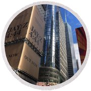 Times Square In Gold Round Beach Towel