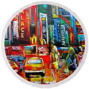 Times Square Round Beach Towel by Ken Pridgeon