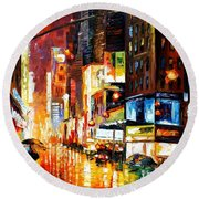 Times Square Round Beach Towel by Leonid Afremov