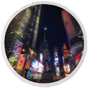 Times Square Moonlight Round Beach Towel
