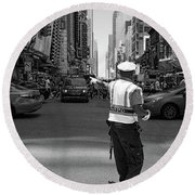 Times Square, New York City  -27854-bw Round Beach Towel