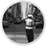 Times Square, New York City  -27854-bw Round Beach Towel