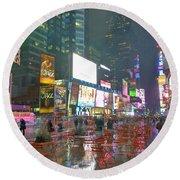 Times Square Red Rain Round Beach Towel