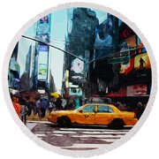 Times Square Taxi- Art By Linda Woods Round Beach Towel by Linda Woods