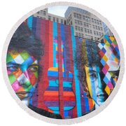 Times They Are A Changing Giant Bob Dylan Mural Minneapolis Cityscape Round Beach Towel