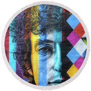 Times They Are A Changing Giant Bob Dylan Mural Minneapolis Detail 2 Round Beach Towel
