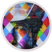 Times They Are A Changing Giant Bob Dylan Mural Minneapolis Detail 3 Round Beach Towel