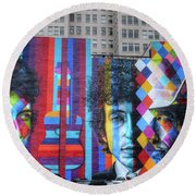 Times They Are A Changing Giant Bob Dylan Mural Minneapolis Fine Art Round Beach Towel