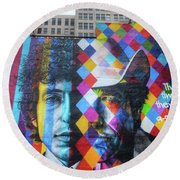 Times They Are A Changing Giant Bob Dylan Mural Minneapolis Getting Older Round Beach Towel