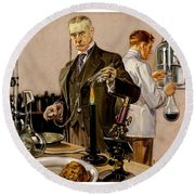 Round Beach Towel featuring the painting Timing An Experiment Frank Leyendecker 1910 by Peter Gumaer Ogden