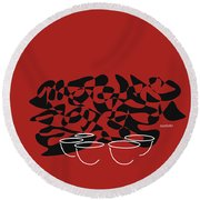 Timpani In Orange Red Round Beach Towel by David Bridburg