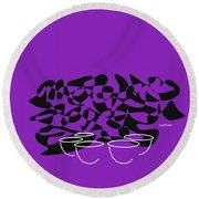 Timpani In Purple Round Beach Towel by David Bridburg