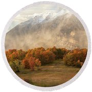 Round Beach Towel featuring the photograph Timpanogos Veil by Dustin LeFevre