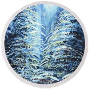 Round Beach Towel featuring the painting Tim's Winter Forest by Holly Carmichael