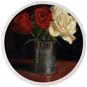 Round Beach Towel featuring the painting Tin Can Love by Billie Colson