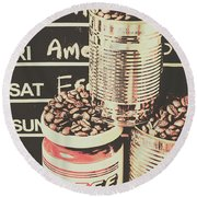 Tin Signs And Coffee Shops Round Beach Towel