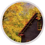 Tingler's Mill In Fall Round Beach Towel