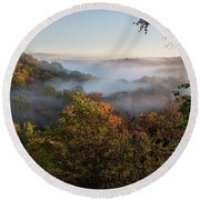 Tinkers Creek Gorge Overlook Round Beach Towel