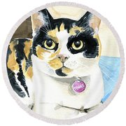 Tinks The Minx - Calico Cat Portrait Round Beach Towel