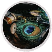 Tinsel Rust Nymph Round Beach Towel by Jeffrey Jensen