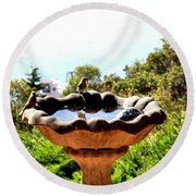 Round Beach Towel featuring the photograph Tiny Birds Bathing by Sadie Reneau