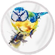Blue Tit Round Beach Towel