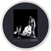 Round Beach Towel featuring the photograph Tiny Desk Concert by Elf Evans