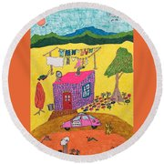 Tiny House With Clothesline Round Beach Towel