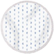 Tiny Naupaka Faded Indigo Round Beach Towel