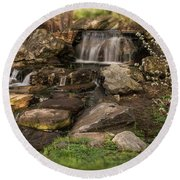 Round Beach Towel featuring the photograph Tiny Stream by Angie Tirado