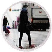 Round Beach Towel featuring the photograph Tiny Umbrella  by Empty Wall