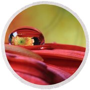 Tiny Water Drop Reflections Round Beach Towel