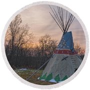 Tipi Sunset Round Beach Towel by Angelo Marcialis
