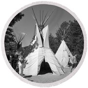 Tipis In Black Hills Round Beach Towel