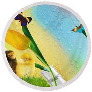 Tiptoe Through The Tulips Round Beach Towel by Liane Wright