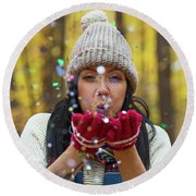 Round Beach Towel featuring the photograph Tis The Season.. by Nina Stavlund