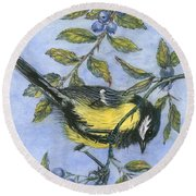 Tit In Blackthorn And Sloe Round Beach Towel
