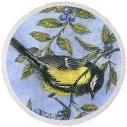 Tit In Blackthorn And Sloe Round Beach Towel by Nell Hill