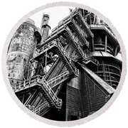 Titan Of Industry - Bethlehem Steel Mill In Black And White Round Beach Towel by Bill Cannon