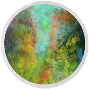 Title. Allegro Abyss. Abstract Acrylic Painting. Round Beach Towel